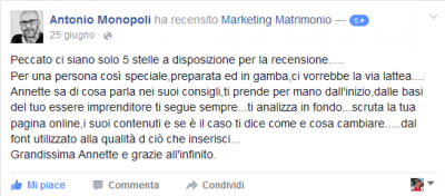 Recensione Antonio Monopoli Marketing Matrimonio