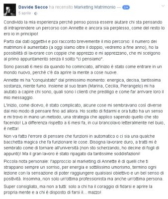 Recensione Davide Secco Marketing Matrimonio