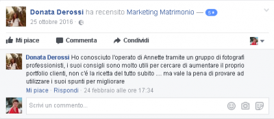 Recensione Donata Derossi Marketing Matrimonio