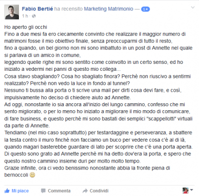 Recensione Fabio Bertié Marketing Matrimonio