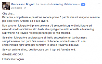 Recensione Francesco Bognin Marketing Matrimonio