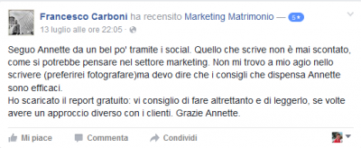 Recensione Francesco Carboni Marketing Matrimonio
