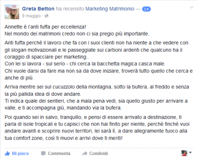 Recensione Greta Betton Marketing Matrimonio