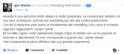 Recensione Igor Bellini Marketing Matrimonio