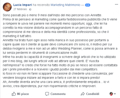 Recensione Lucia Imperi bis Marketing Matrimonio