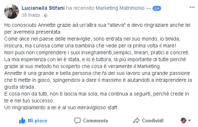 Recensione Lucianella Stifani Marketing Matrimonio