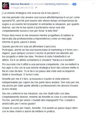 Recensione Marina Ravaioli Marketing Matrimonio
