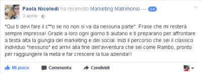 Recensione Paola Nicolodi Marketing Matrimonio